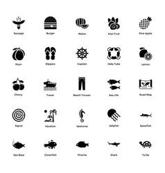 Ocean and sea life glyph icons 7 vector