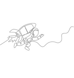 One continuous line drawing spaceman astronaut vector