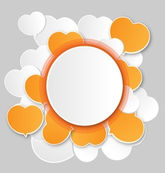 Paper white round speech bubbles and hearts vector