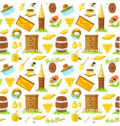 pattern of cartoon elements of beekeeping vector image