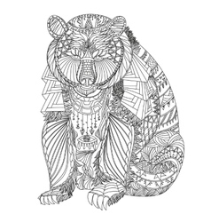 Patterned bear vector image