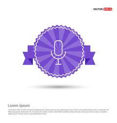 pictogram microphone icon - purple ribbon banner vector image
