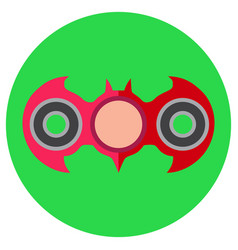 Pink hand-spinner in the form of a bat icon a vector