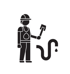 plumber working black concept icon plumber vector image