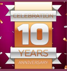 Realistic ten years anniversary celebration design vector