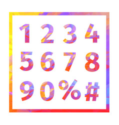 red blue yellow purple triangular numbers vector image