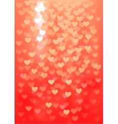 Red festive lights in heart shape background vector image