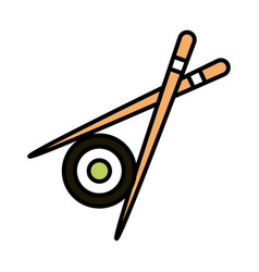 Roll sushi oriental menu crossed sticks line and vector
