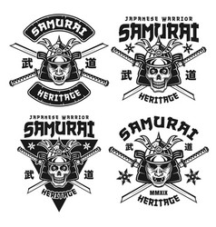 samurai monochrome emblems or shirt prints vector image