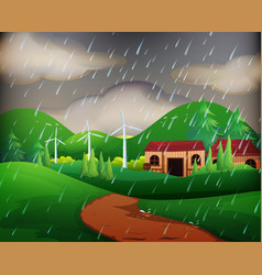 scene with houses in the rain vector image