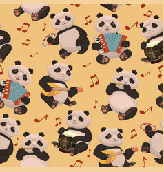 seamless texture with pandas playing musical vector image