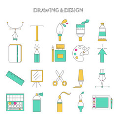 set drawing and design icons vector image