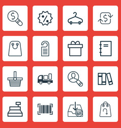 Set of 16 commerce icons includes refund peg vector