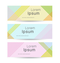 set of 3 line banners in pastel colors modern vector image