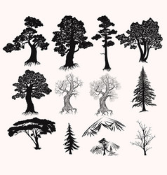 Set of hand drawn trees silhouettes for design vector