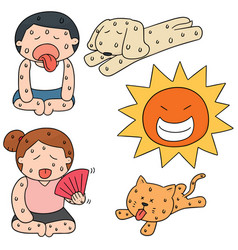 set of hot weather vector image