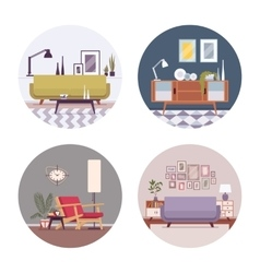 Set of retro interiors in a circle vector image