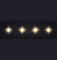 set shining light flash gold glowing glitter vector image