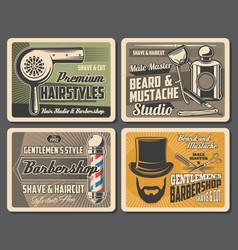 Shaving and haircut retro service barbershop vector