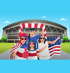 soccer fans outside of the stadium vector image