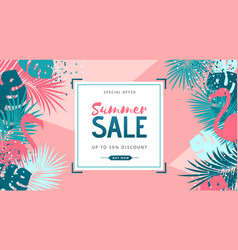 Summer sale poster with tropic leaves vector