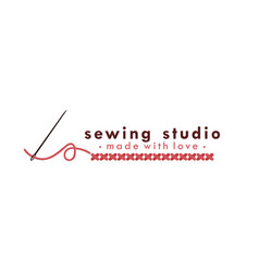 Tailor sewing vintage logo needle and yarn logo vector