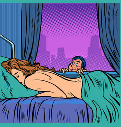 Teen spies on sleeping woman vector