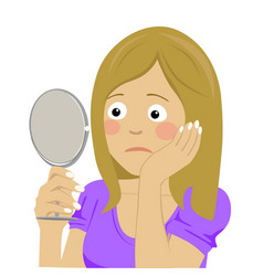 Unhappy woman looking at her skin in the mirror vector