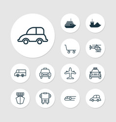 vehicle icons set with truck automobile air vector image