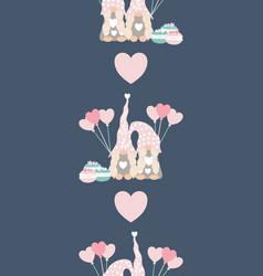 vertical seamless border with cute valentine vector image