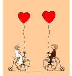 Wedding Couple on Bicycles Drawing vector image