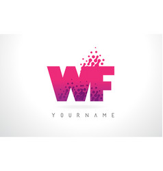 wf w f letter logo with pink purple color and vector image
