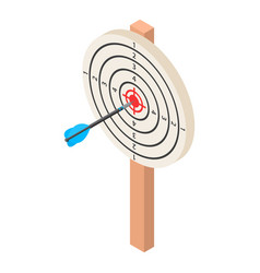 white darts target icon isometric style vector image