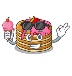 with ice cream pancake with strawberry character vector image