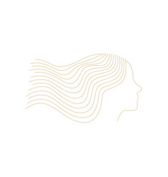 Woman girl line outline logo icon decoration vector