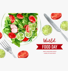World food day frame design with tomato peas lime vector