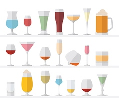 Alcohol glasses flat icon set Different alcohol vector image