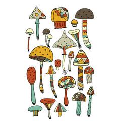 art mushrooms set sketch for your design vector image