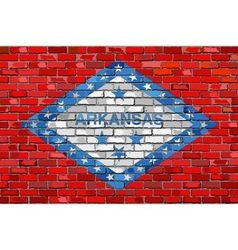 Flag of Arkansas on a brick wall vector image vector image