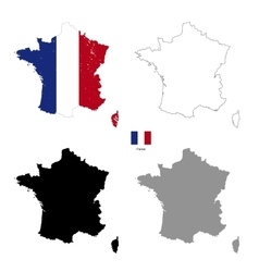 France country black silhouette and with flag on vector image vector image