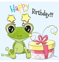 Frog with gift vector image