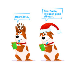 funny cartoon dog set xmas flat character terrier vector image vector image