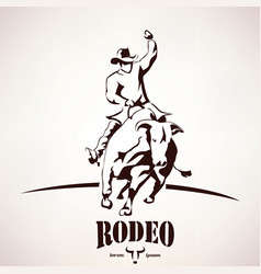 bull rodeo symbol stylized silhouette vector image vector image