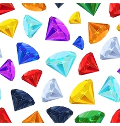 Different colourful gemstones seamless pattern vector image