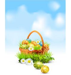 easter eggs basket vector image vector image
