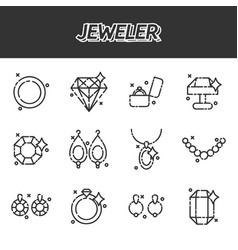 jeweler icons set vector image