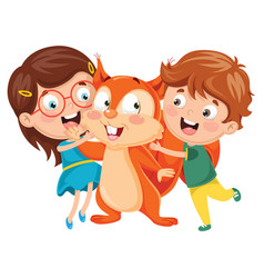 kids with squirrel vector image