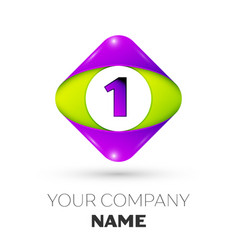 Number one symbol in the colorful rhombus vector
