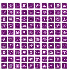 100 arrow icons set grunge purple vector image vector image