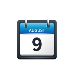 August 9 Calendar icon flat vector image